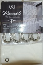 Riverside Thirteen Piece Shower Curtain Clear Frosted Leaf Pattern image 1