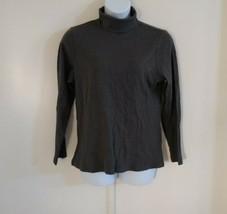 Karen Scott Women's Turtle Neck Long Sleeve Charcoal Heather Gray Top Si... - $23.17