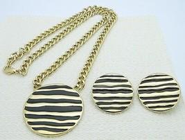VTG M. JENT Signed Gold Tone Black Enamel Zebra Animal Necklace & Earrin... - $39.60