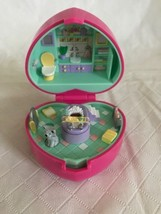 Vintage Polly Pocket Bath time Fun Ring, Cat & Case Bathtub Pink Heart C... - $29.69