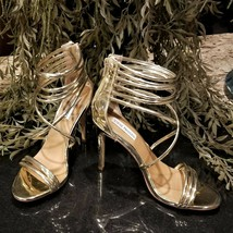 STEVE MADDEN Fayja Metallic Gold Strappy Wrap Around High Heel Shoes US 8.5 - $34.95