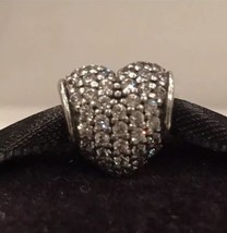 Authentic Pandora Heart Pave Lights Clear CZ Charm Pandora Sterling Silver Charm - $32.99