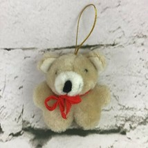 """Miniature 2.5"""" Teddy Bear Christmas Ornament Red Ribbon Collectible Holiday - $7.91"""