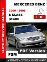 MERCEDES BENZ S CLASS 2000 2001 2002 2003 2004 2005 2006 W220 WORKSHOP M... - $14.95