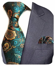 GUSLESON Brand New Paisley Silk Tie and Pocket Square Set Mens Necktie for Weddi image 1