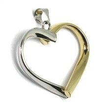 18K YELLOW WHITE GOLD PENDANT ROUNDED HEART, DIAMETER 28mm, 1.1 inches, HUG image 2