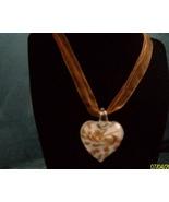 Heart Lampwork Pendant White Copper Voile Cord    - $9.95