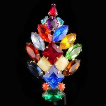 1950's Christmas Tree Brooch - chunky baguettes - multi color pin - Unus... - $95.00