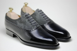 Handmade Men's Black Leather and Dark Gray Suede Two Tone Oxford Shoes image 3