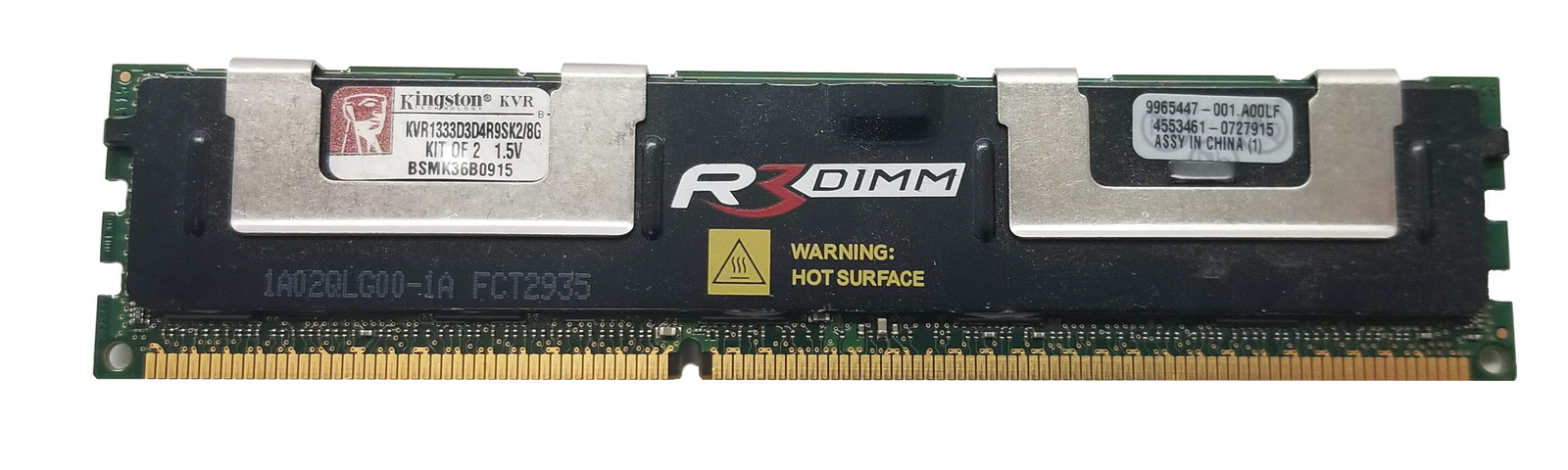 Kingston 8GB DDR3-1333 SERVER RAM (KVR1333D3D4R9S) Bin:10