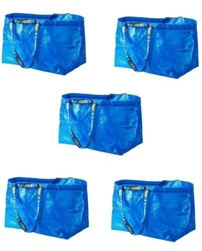 100 Ikea Frakta Shopping storage Bags, Large, Blue,  Brand New • STURDY!