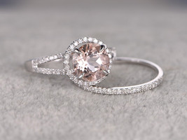 2.4ct Rd AAA Morganite 14K White Gold Over Silver Wedding Halo Bridal Ring Set - $115.99