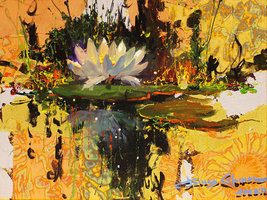 "James Coleman ""Lily Reflections"" - Original Mixed Media - Retail $5.5K -... - $4,400.00"
