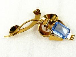 Art Deco Vintage Sterling Silver Vermeil Large Blue Stone Pin Brooch  - $198.00