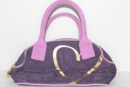 Victoria's Secret Purple Purse Handbag Gold Heart Design & Pendant 100% Cotton - $5.00