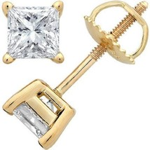 1.60CT Princess Cut Solitaire Simulated Stud Earrings 14k Yellow Gold Sc... - $52.93