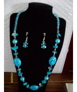 Zebra Shell Neclace Set   blue  B-3 - $9.95