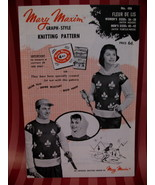 Vintage Fleur De Lis Sweater Knitting Pattern Mary Maxim - $9.99