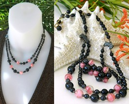Vintage Glass Bead Necklace Set Pink Black Western Germany - $45.95