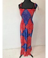 Vintage Red Blue Bandana Tube Top Prairie Hippy Dress size S Spaghetti S... - $49.95
