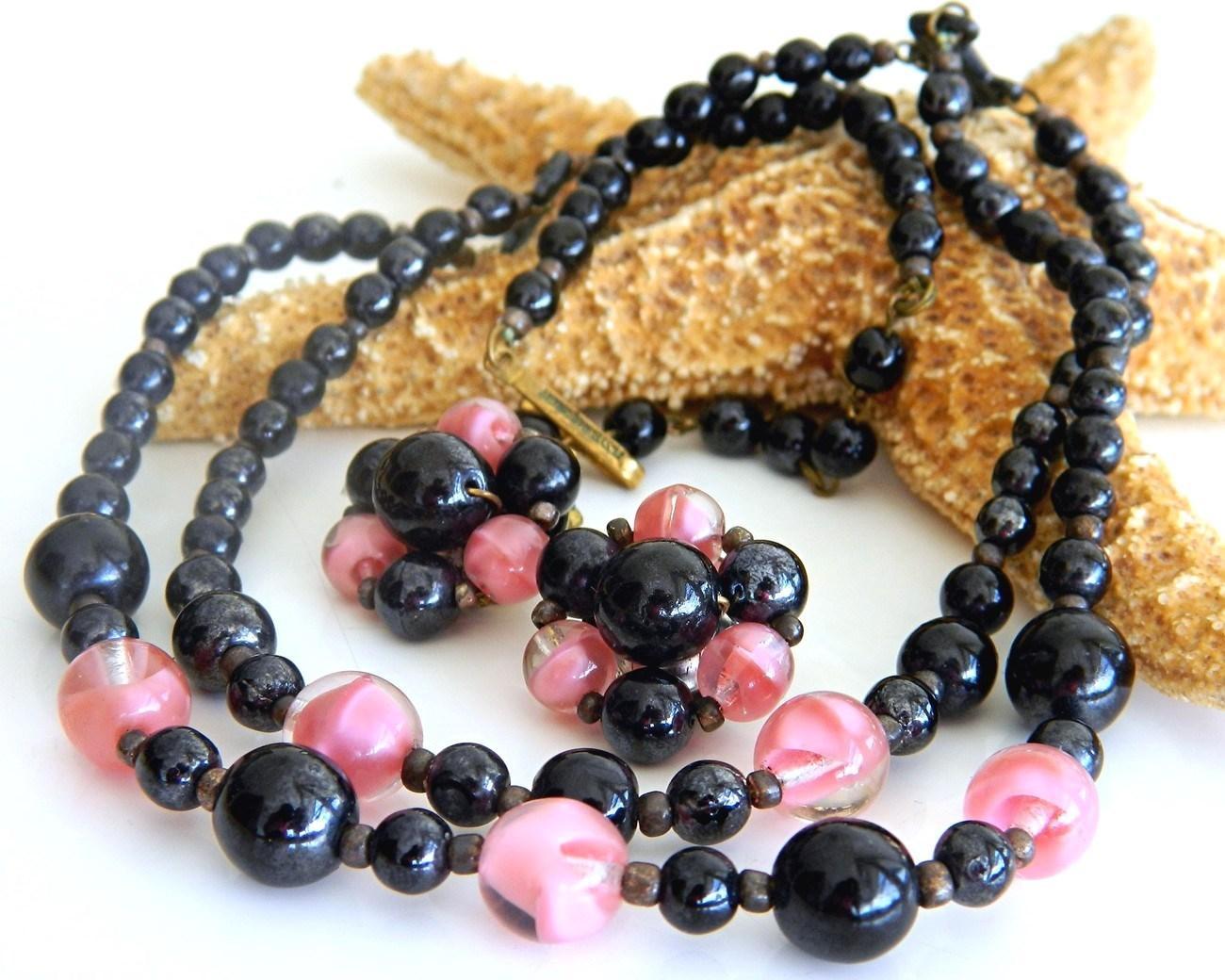 Vintage Glass Bead Necklace Set Pink Black Western Germany