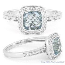 1.89ct Blue Topaz Round Cut Diamond Halo Pave Engagement Ring in 14k Whi... - £402.61 GBP