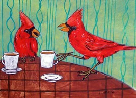 cardinal at the coffee shop 11x14 bird poster art print - $23.99