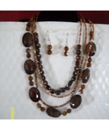 Acrylic and Shell Necklace Set   Brown  C-1 - $9.95