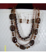 Zebra Stripe Acrylic  Shell Necklace Set  Brown C - $9.95