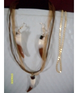 Horn Bead Earring and Necklace Set  Gold Chain  - $9.95