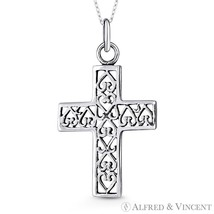 Latin Cross & Filigree Heart Charm Necklace Pendant Oxidized 925 Sterling Silver - $25.34