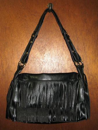 Liz Claiborne Black Fringe Handbag Shoulder Purse Tote  Liz Claiborne