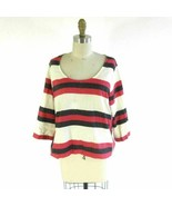 M - Ace & Jig Cream & Red Striped 3/4 Sleeve Boxy Cotton Blouse Top 1006DW - $48.00
