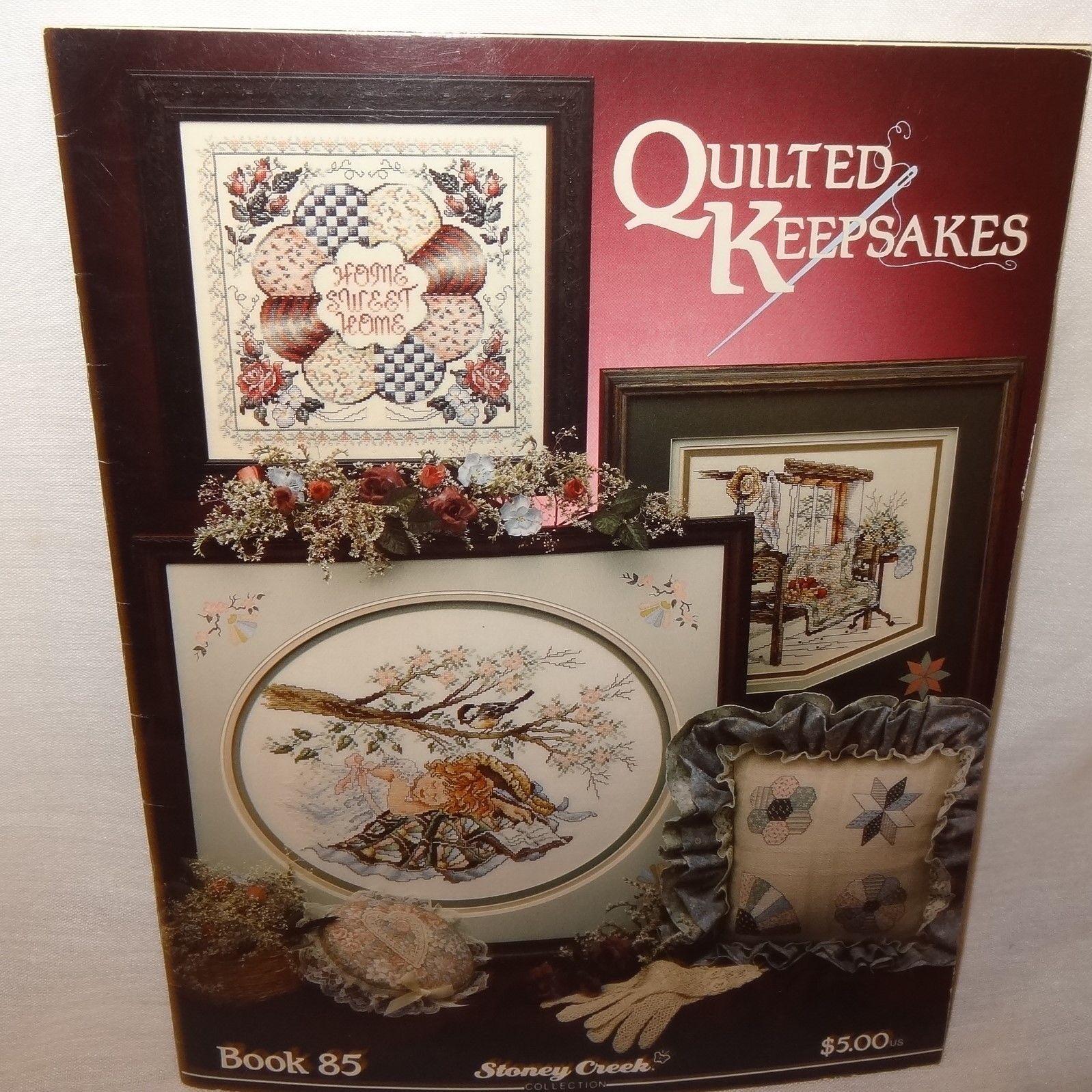 Quilted Keepsakes Cross Stitch Leaflet 85 Stoney Creek 1990 Quilt Girl Bird Cat - $9.99