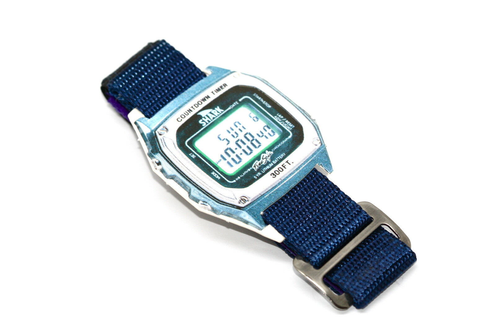 2 Pieces FREESTYLE 20MM BLUE GREEN HOOK & LOOP KILLER SHARK LEASH WATCH BAND