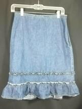 Ann Taylor Loft Denim Skirt 4 A Line Ruffles Side Zip Lightweight Blue Jean - $22.72