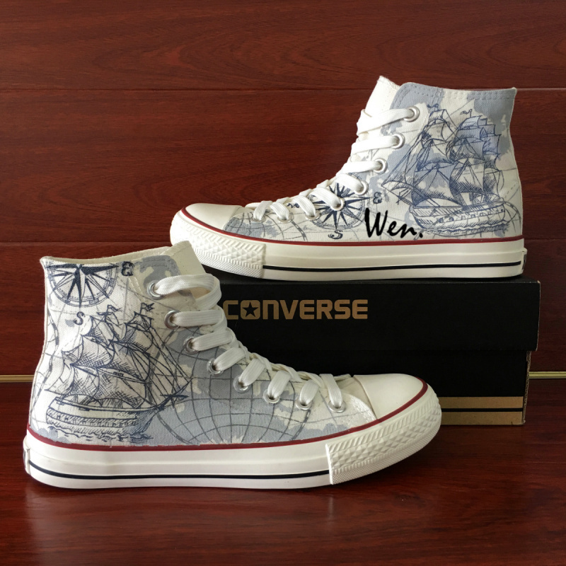 9b19f817b8a9 Converse Hand Painted Shoes Design Sailboat and 50 similar items