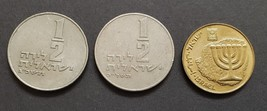 3 Coins from Israel: 2 x 1/2 Sheqel & 10 Algorot - $2.95