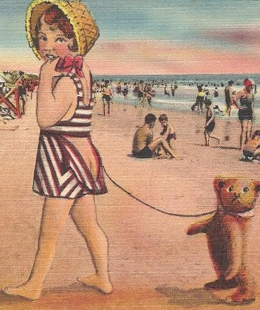 """Mid-Century Risque Post Card """"Mary And Her Little Bear Behind"""" - Postally Unused"""