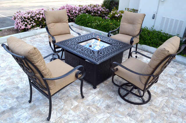 Patio Fire Pit 5 Piece Chat Set Propane table outdoor Santa Anita Swivels Chairs