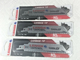 "3 PC Lenox 163971 6"" 8 TPI LAZER CT, Carbide Tip Reciprocating Saw Blade... - $31.74"