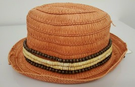 $36 Jessica Simpson Women's Wooden Banded Distressed Fedora Guava Beach Hat - $5.00