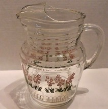 Vintage GLASS JUICE PITCHER W/ ICE LIP Flower & Trellis Design 2qt Retro - $19.79