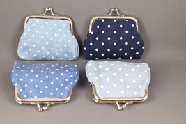 "Blue Denim chambray coin change purse pouch kiss lock snap top 3.75"" wide - $4.49"