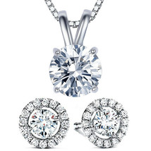 Solitaire Round Brilliant CZ Crystal Rabbit-Ear 11x7mm Pendant in 14k Wh... - $9.79