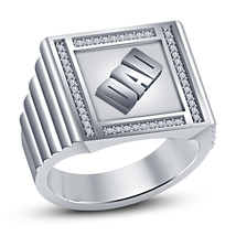 Men's Special DAD Ring In 14k White Gold Finish 925 Sterling Silver Round Cut CZ - $80.91