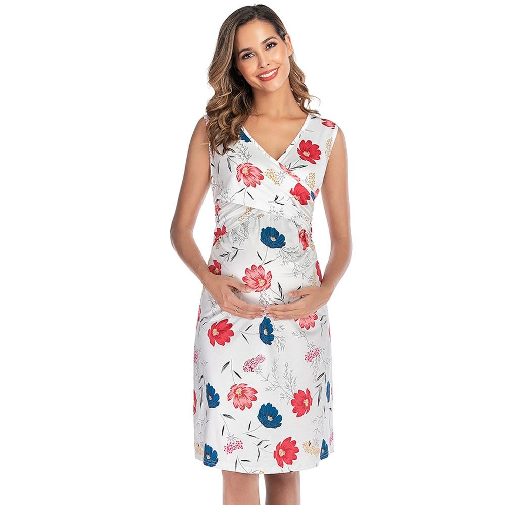 Maternity's Dress V Neck Floral Print Sleeveless Fashion Dress image 2