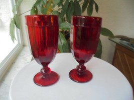 "Set of 2 Dillard's Exclusive Dark Red Water Glasses 8"" Tall - $14.85"