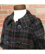 Tommy Hilfiger Womens Coat M Wool Blend Short Black Gray Pink Plaid Oute... - $24.74