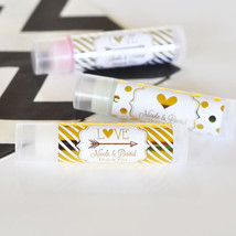 100 Personalized Gold / Silver Foil Lip Balm Anniversary Bridal Wedding ... - $123.45